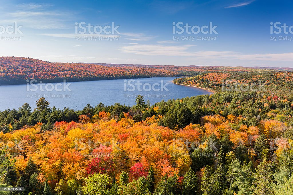 Elevated View of Lake and Fall Foliage - Ontario, Canada stock photo