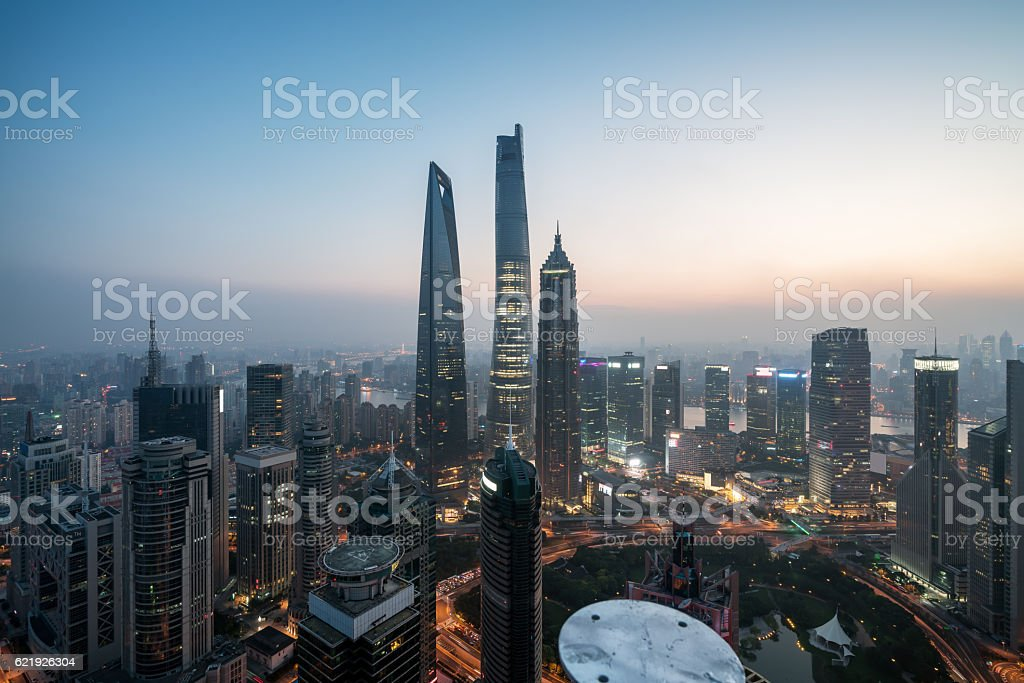Elevated view of Lujiazui, shanghai stock photo