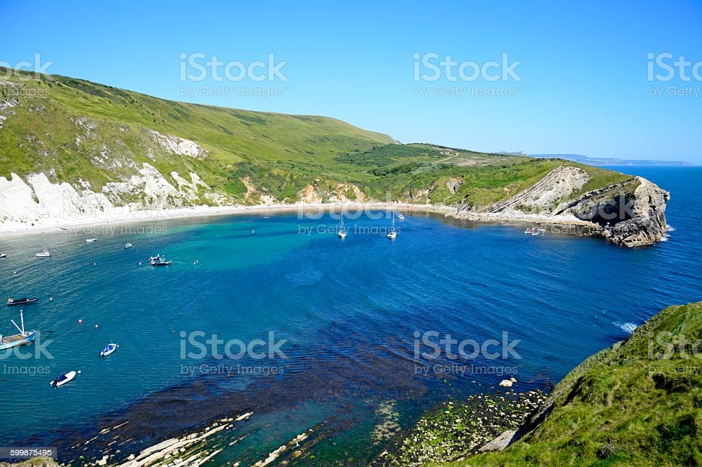 Elevated view of Lulworth Cove. stock photo