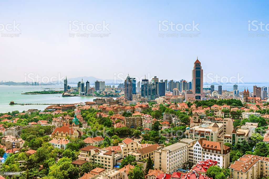 Elevated View of Qingdao City Skyline stock photo