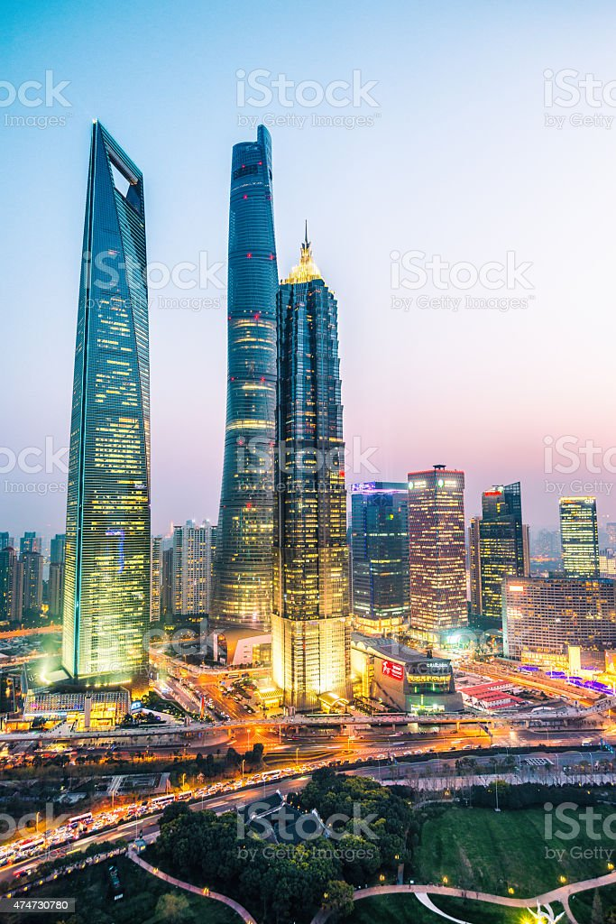 elevated view of Shanghai at Sunset - vertical format stock photo