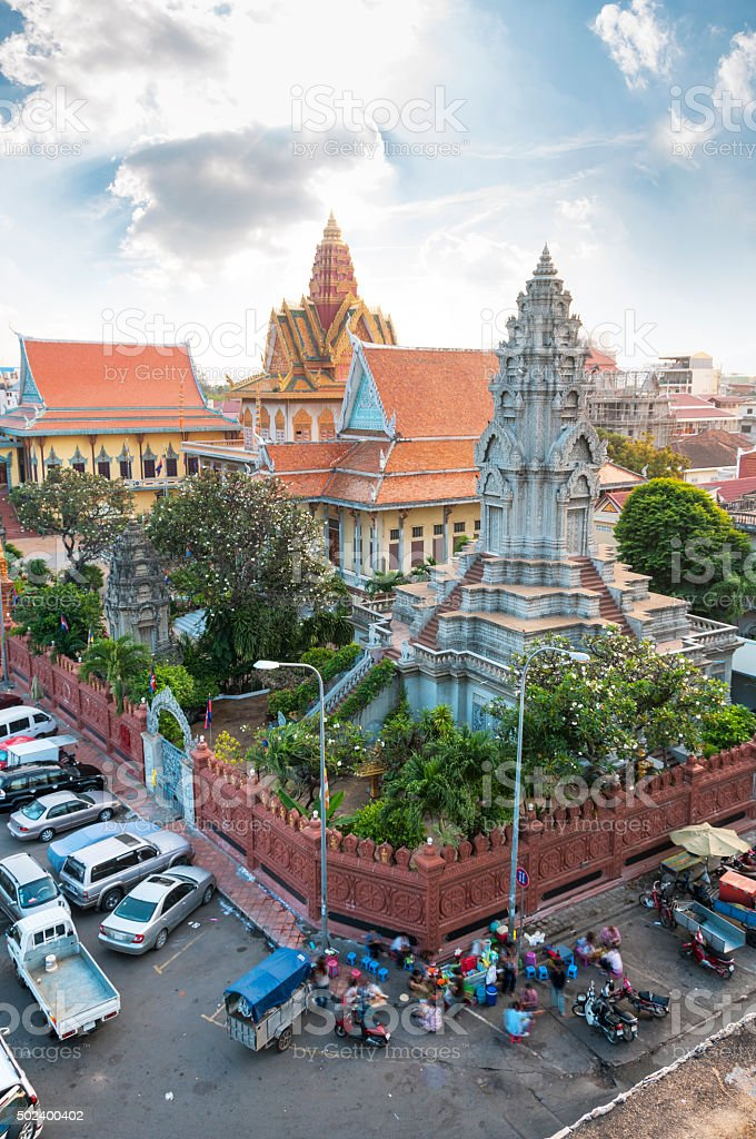 Elevated View Of Wat Ounalom In Phnom Penh stock photo