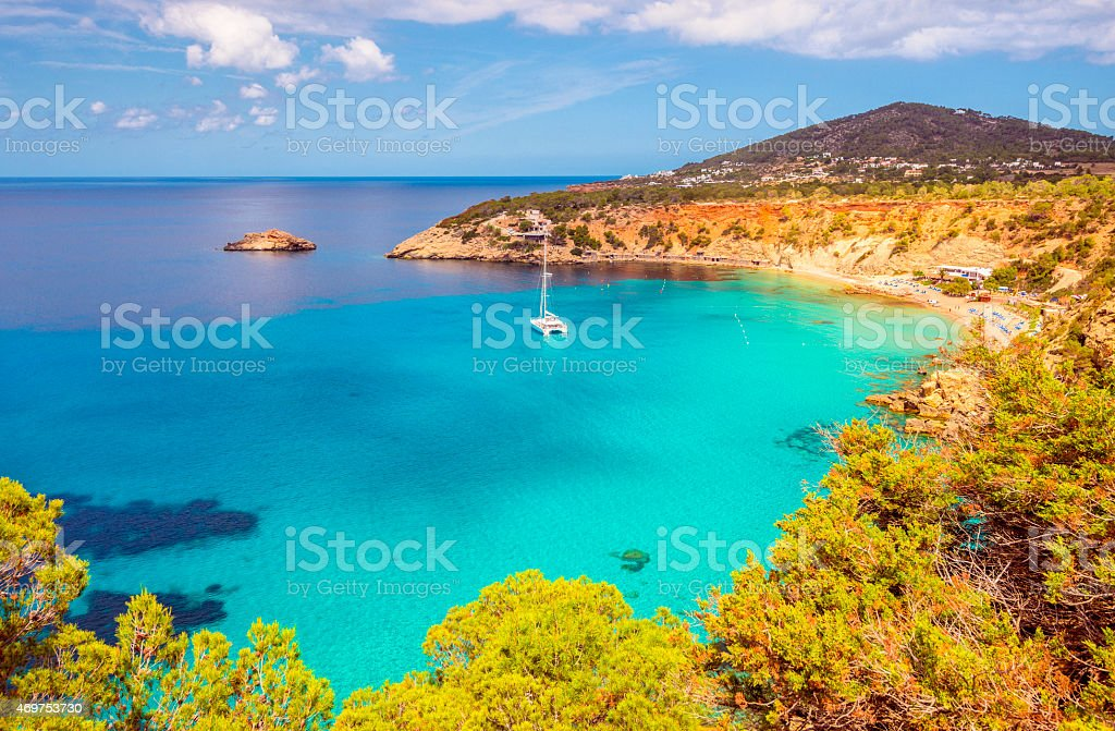 Elevated View on Cala D'hort on Ibiza stock photo
