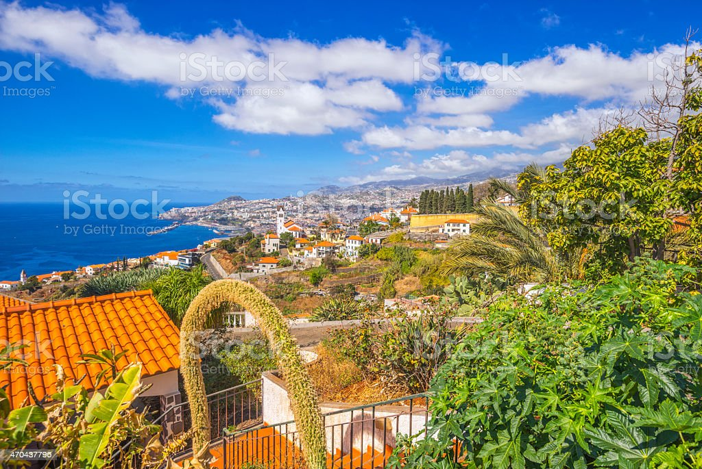 Elevated view on Madeira´s capital Funchal stock photo
