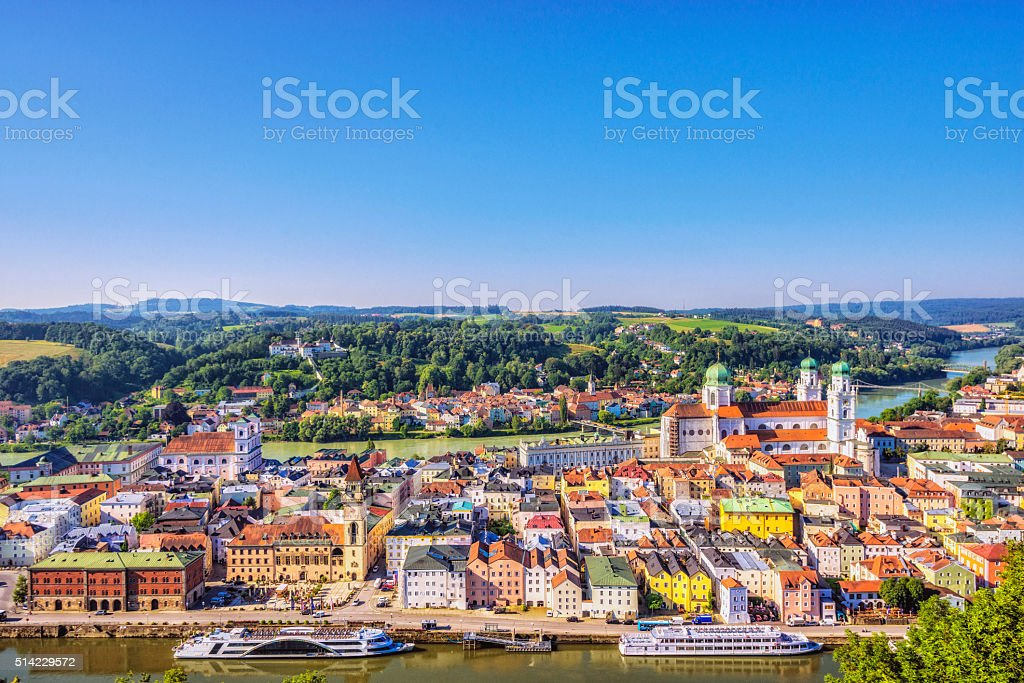 Elevated view on Passau stock photo