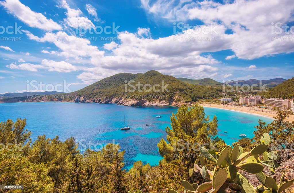 Elevated view over Cala San Vicente on Ibiza stock photo