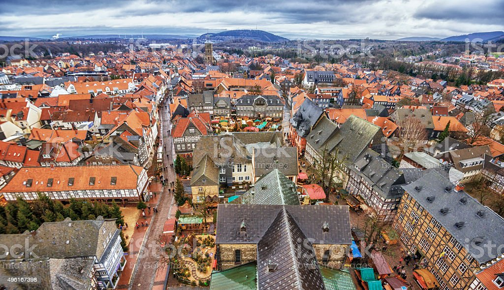 Elevated view over Goslar in winter stock photo