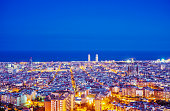Elevated view over the skyline of Barcelona at dusk
