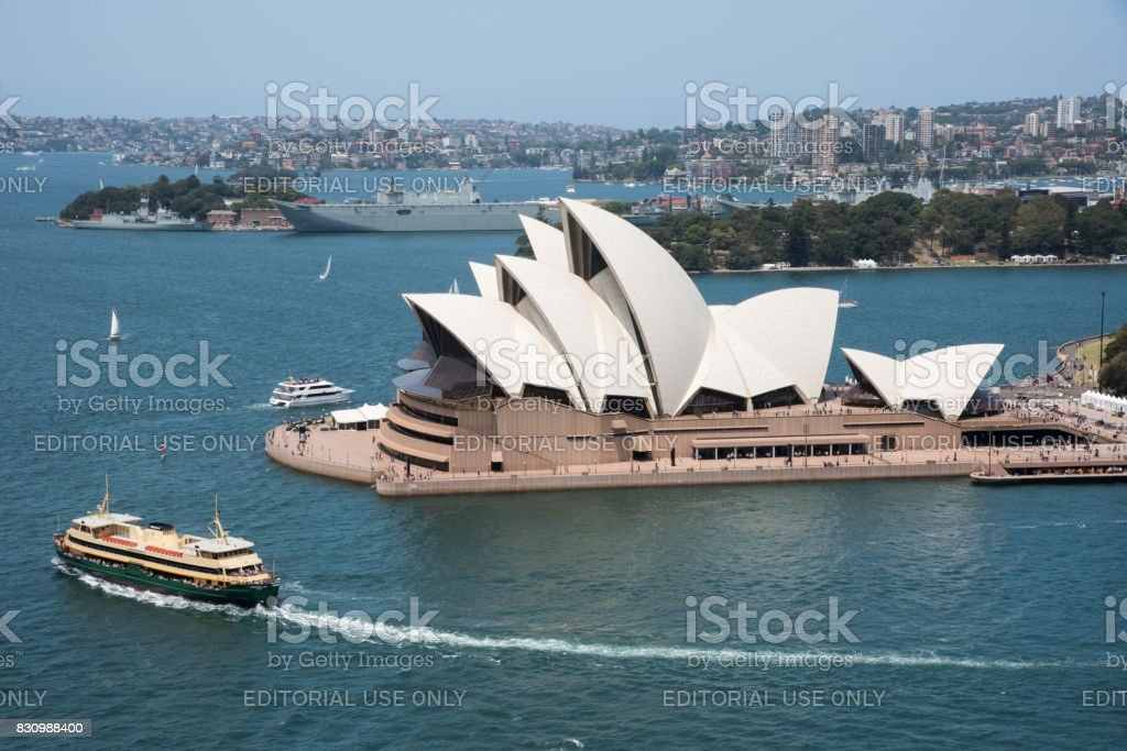 Elevated view over the Sydney Opera House stock photo