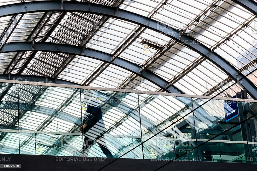 Elevated walkway and Ceiling at Kings Cross Station stock photo