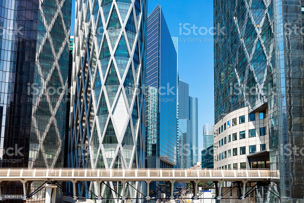 Elevated Walkway and Skyscrapers, La Defense Financial District, Paris, France stock photo
