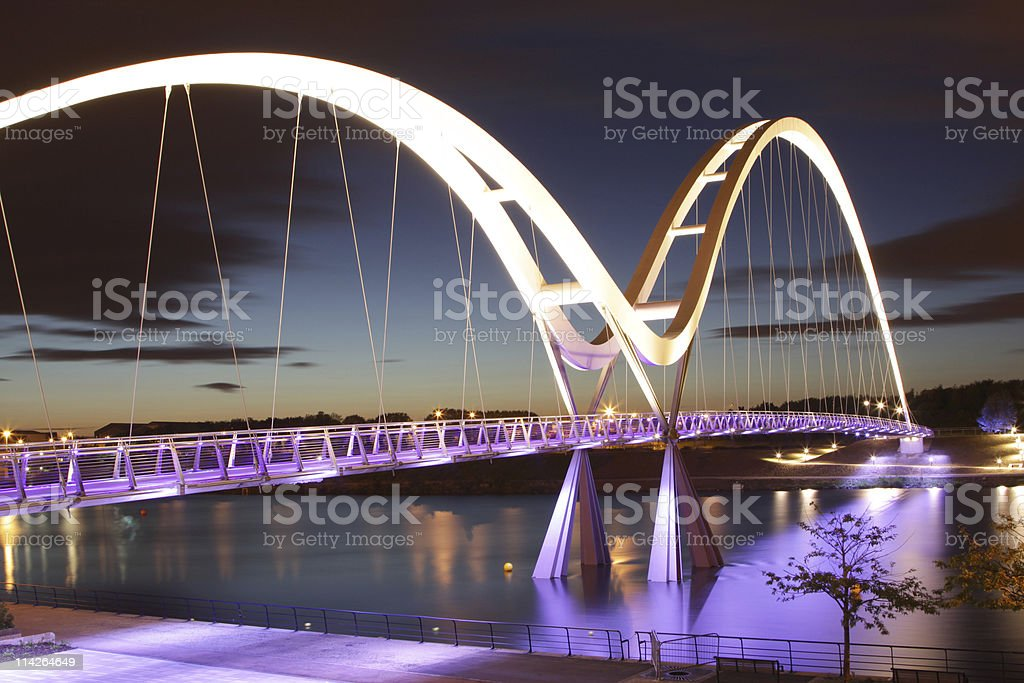 elevated walkway bridge at night royalty-free stock photo