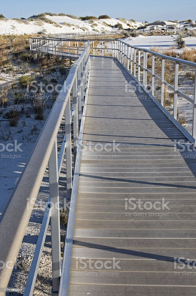 Elevated walkway in White Sands National Monument NM stock photo