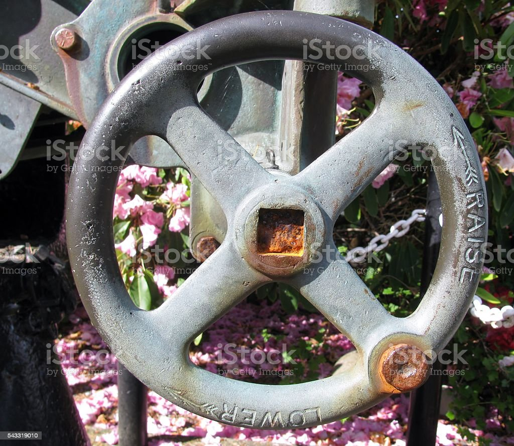 Elevating handwheel to elevate a gun barrel. stock photo