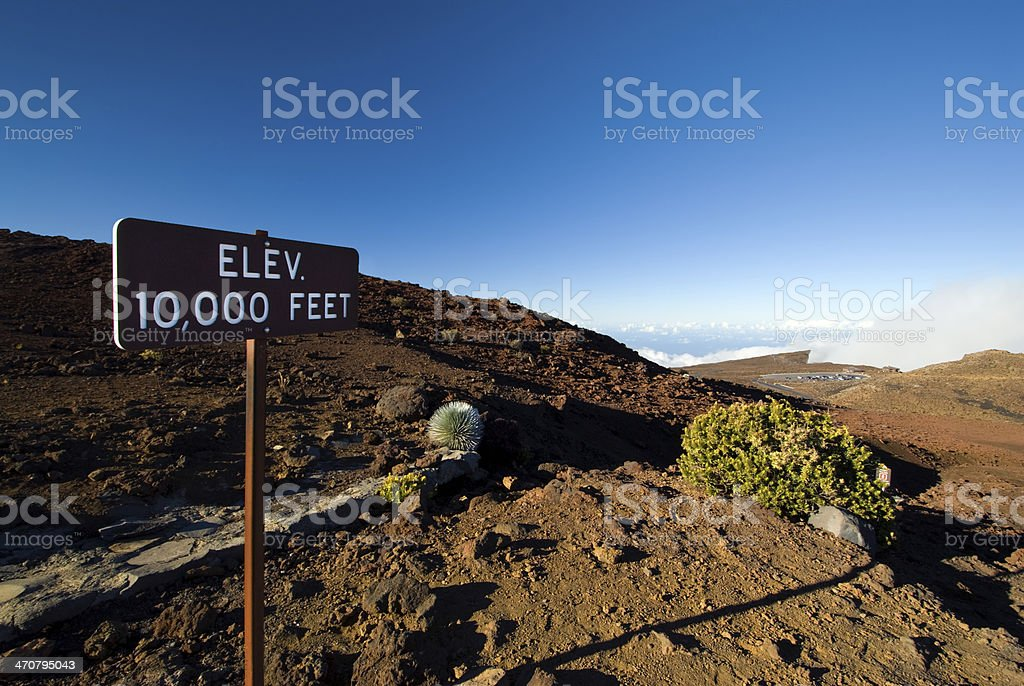Elevation 10,000 ft sign, Haleakala National Park, Maui, Hawaii royalty-free stock photo