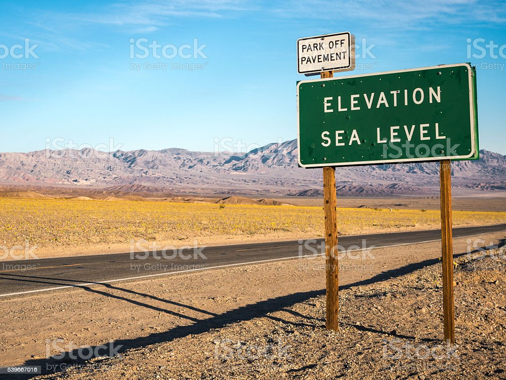 Elevation Sign during Superbloom, Death Valley National Park stock photo
