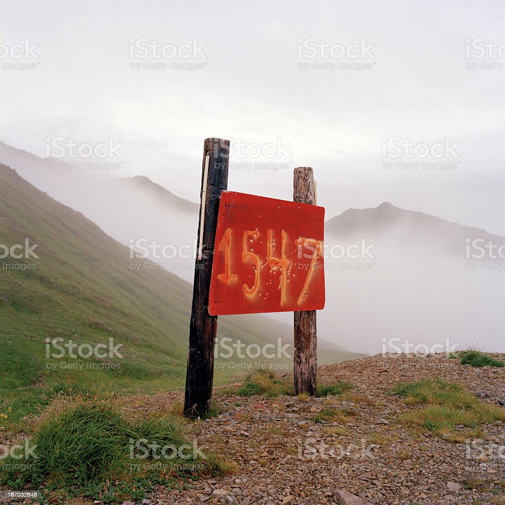 Elevation Sign, Mount Newhall, Alaska stock photo
