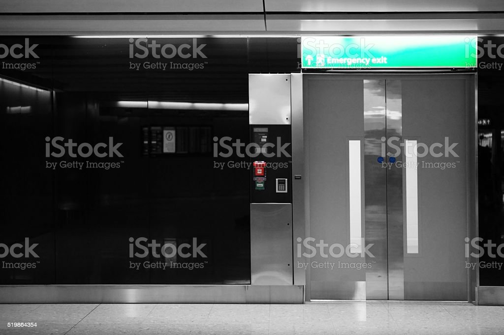 Elevator and emergency exit stock photo