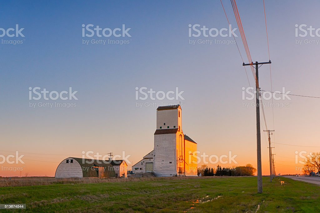 Elevator at Lowe Farm, Manitoba stock photo