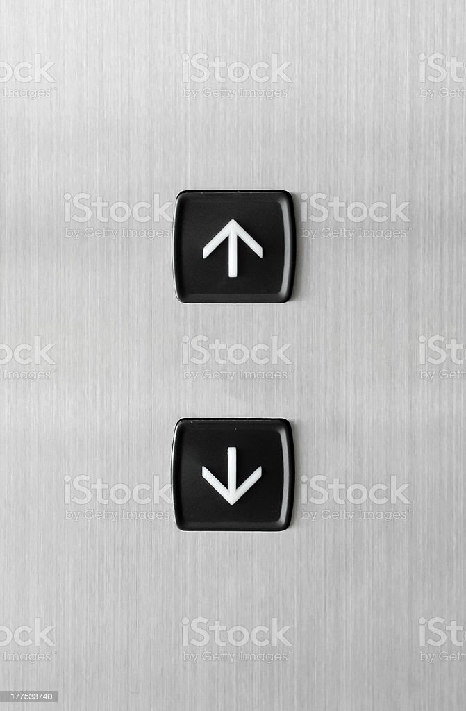 Elevator buttons pointing up and down stock photo