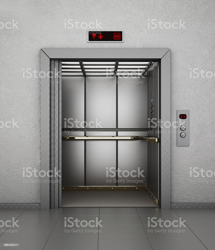 Elevator cabin stock photo