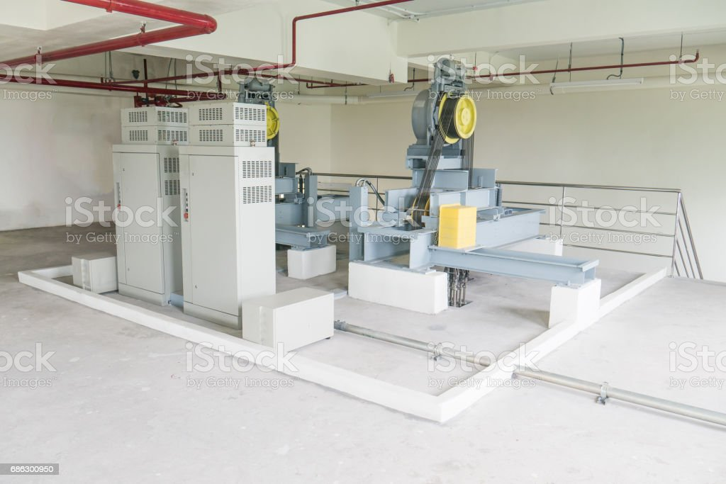 Elevator cable control Room stock photo