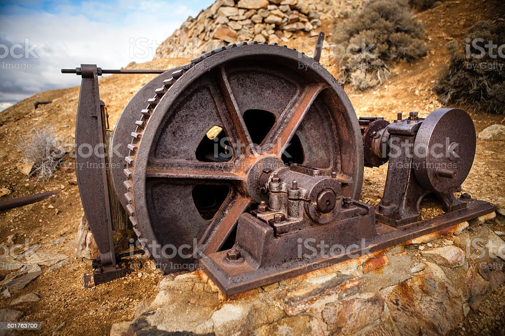 Elevator Cable Winch Remains at Abanoned Lost Horse Mine Site royalty-free stock photo