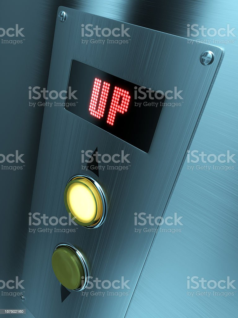 LED elevator control panel with up written on it royalty-free stock photo