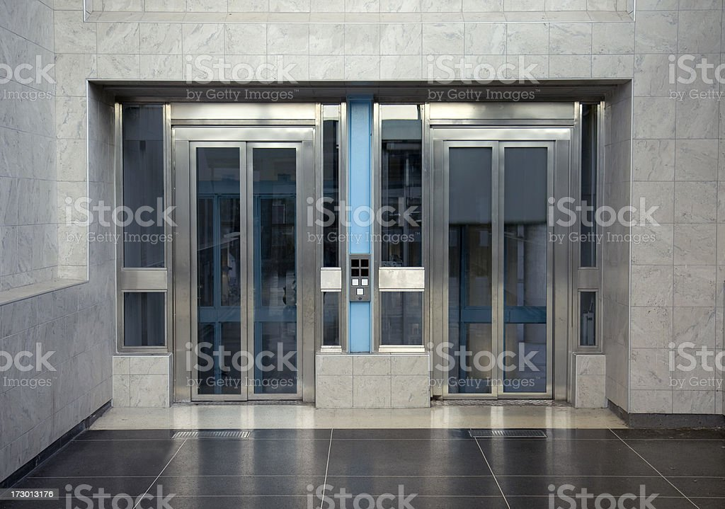 Elevator hall stock photo