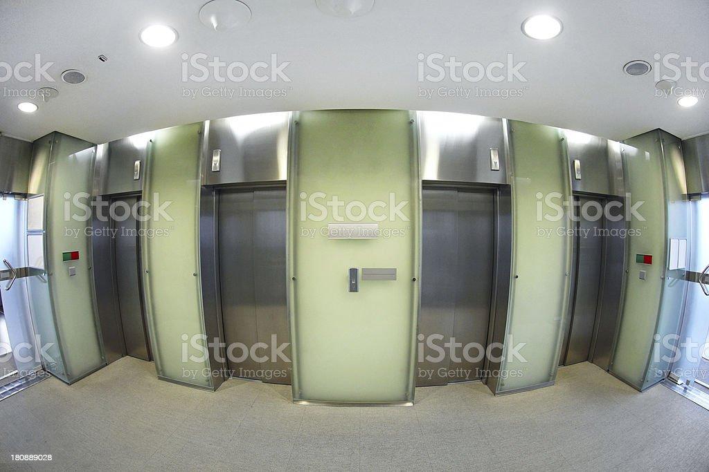 Elevator hall stock photo