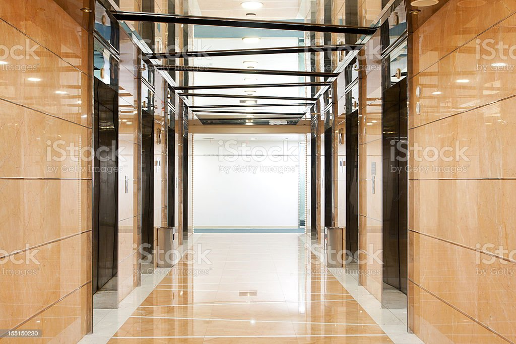Elevator hallway in the office building stock photo