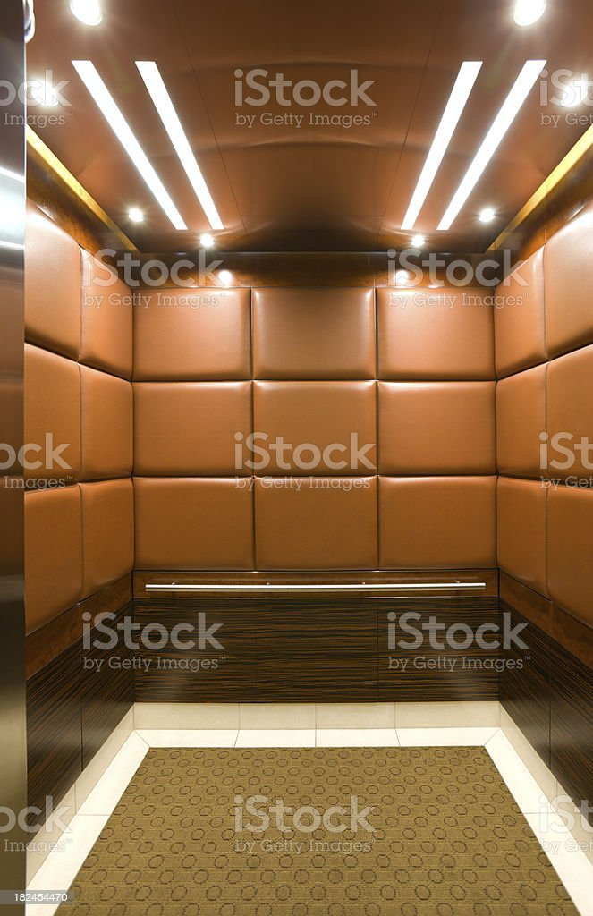 Elevator in a luxury high rise. stock photo