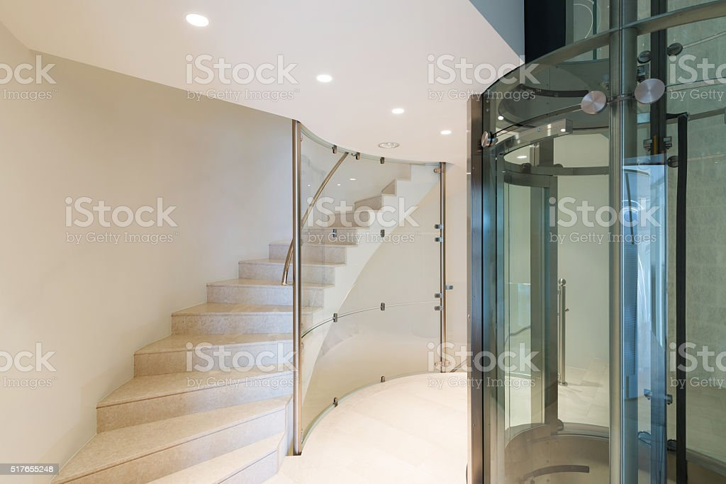 elevator in a modern building stock photo