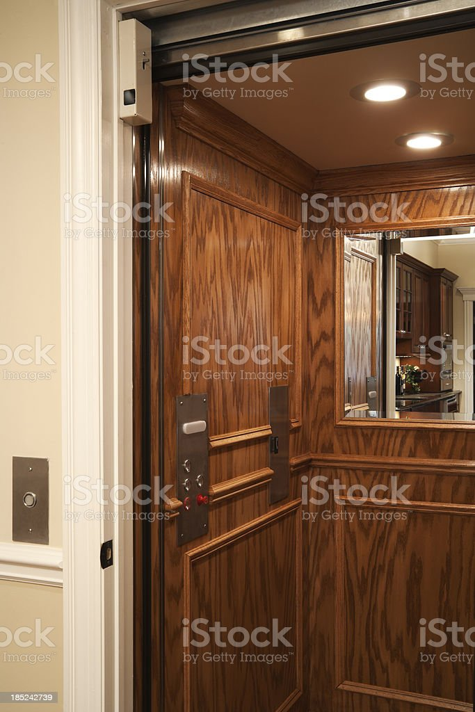 Elevator in residential home. stock photo