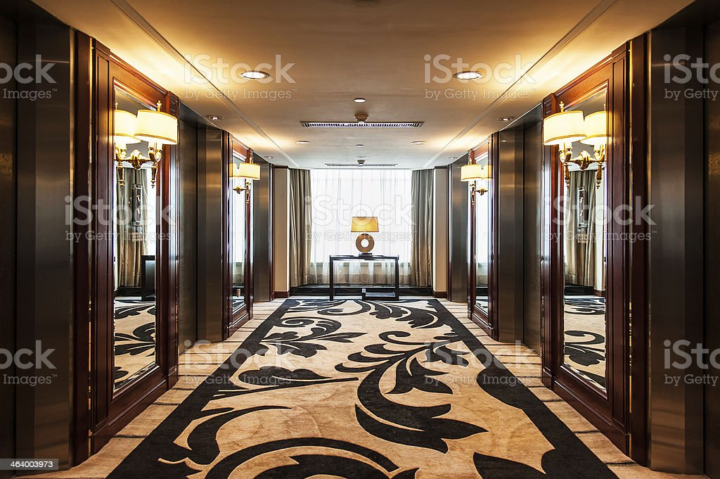 Elevator Lobby in Luxury Hotel stock photo
