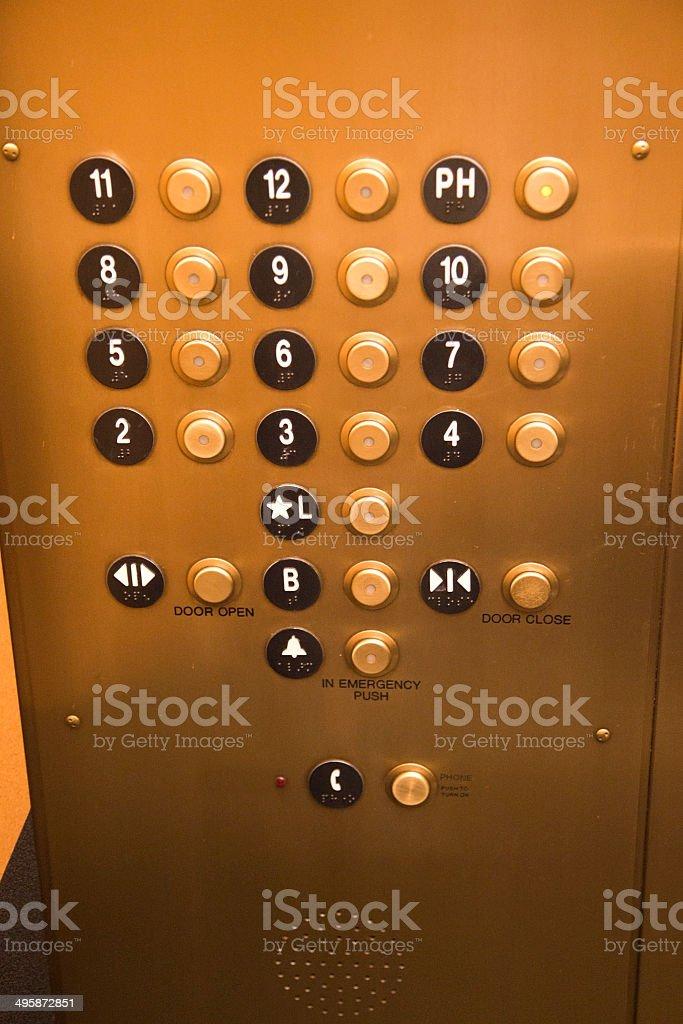 Elevator Panel stock photo