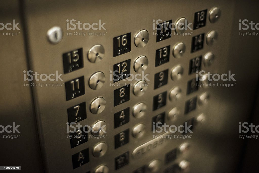 Elevator push button stock photo