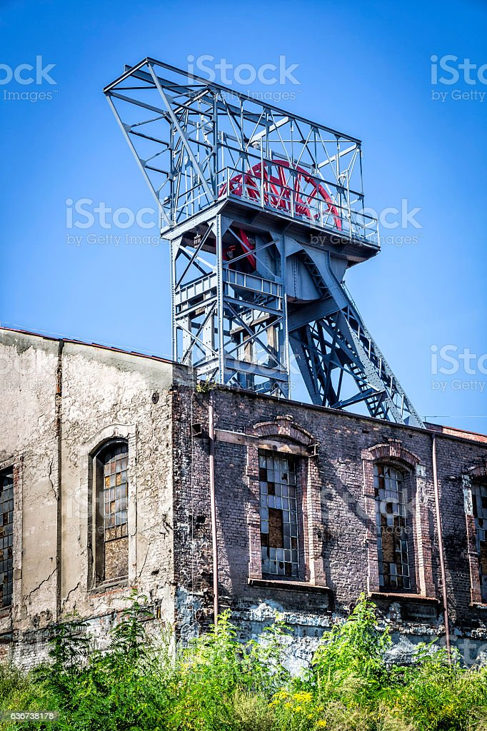 Elevator tower in Coal Mine, Poland stock photo