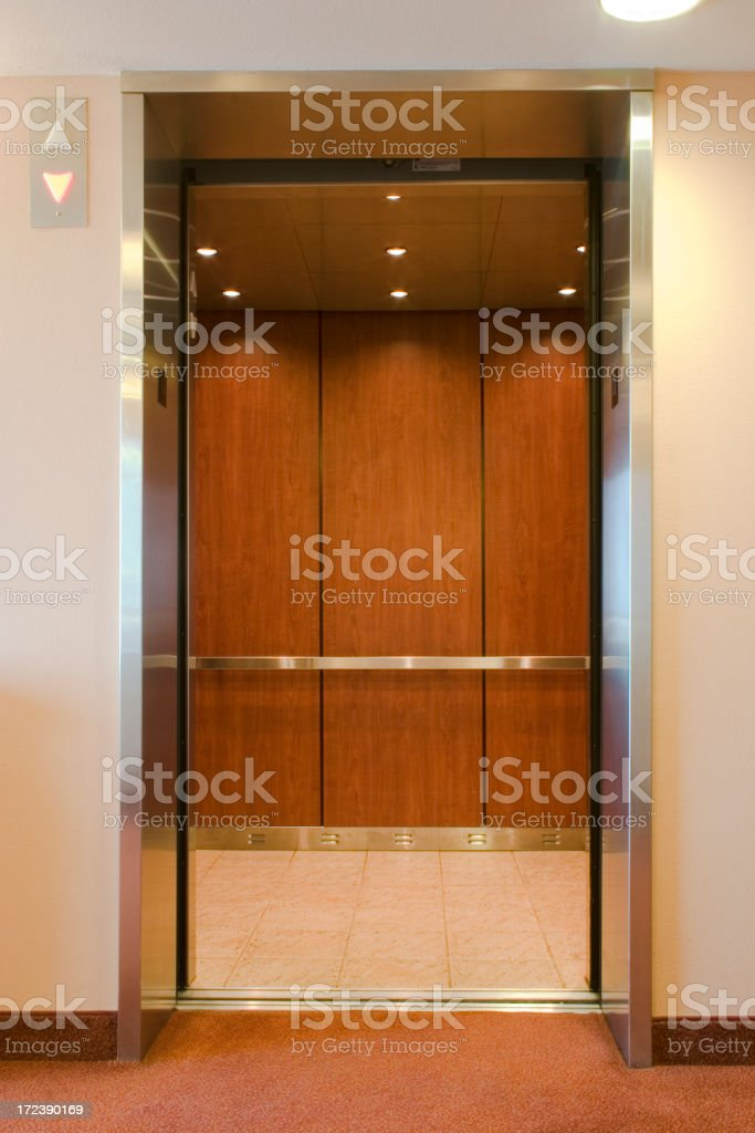 Elevator with open doors stock photo