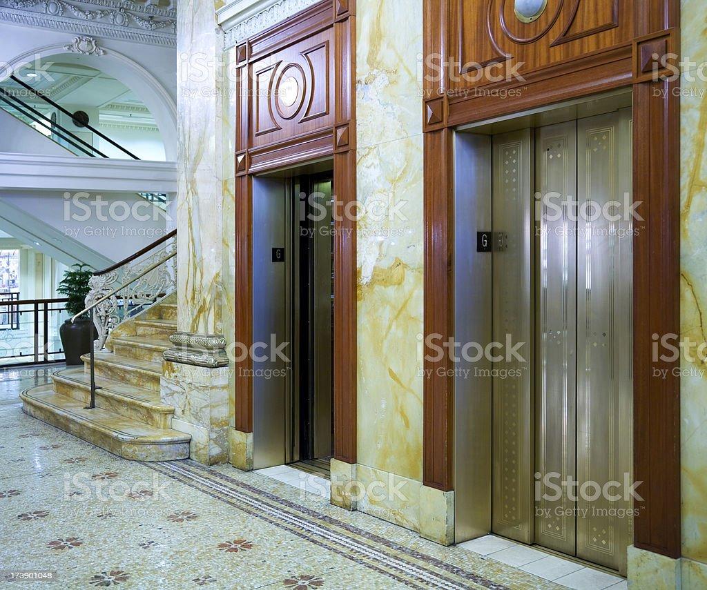 Elevators in Upscale Hotel stock photo