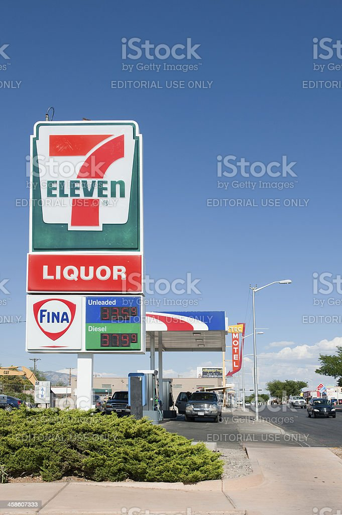 7 Eleven Convenience store and Fina Gas Station stock photo