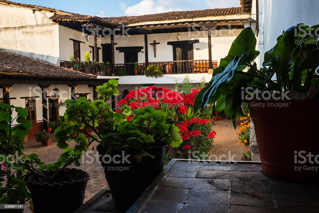 Eleven patios house in Patzcuaro Mexico stock photo