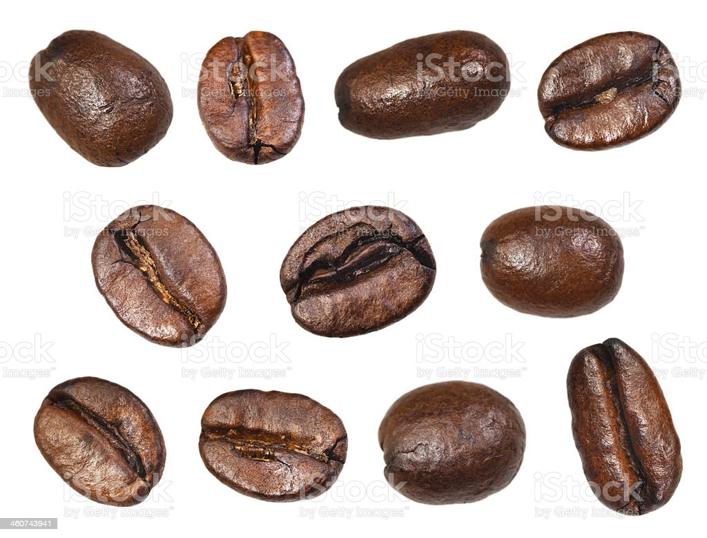 Eleven roasts coffee beans on a white background stock photo