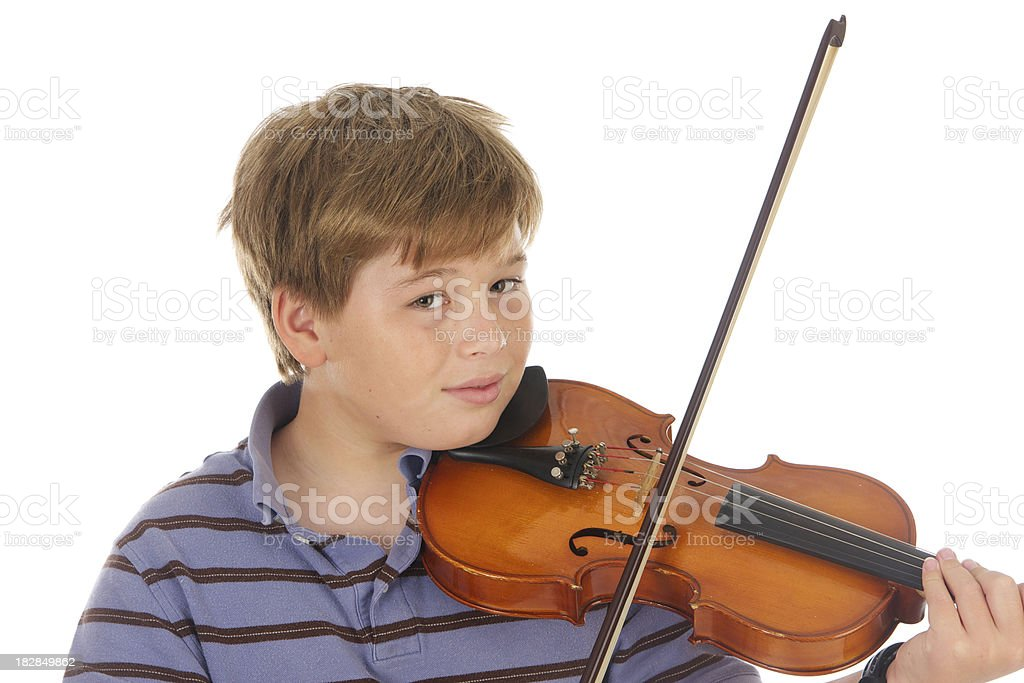 Eleven Year Old Boy Playing The Violin royalty-free stock photo