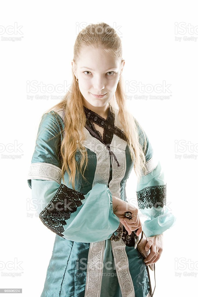 Elf girl with knife stock photo