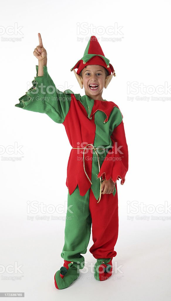 elf pointing up stock photo