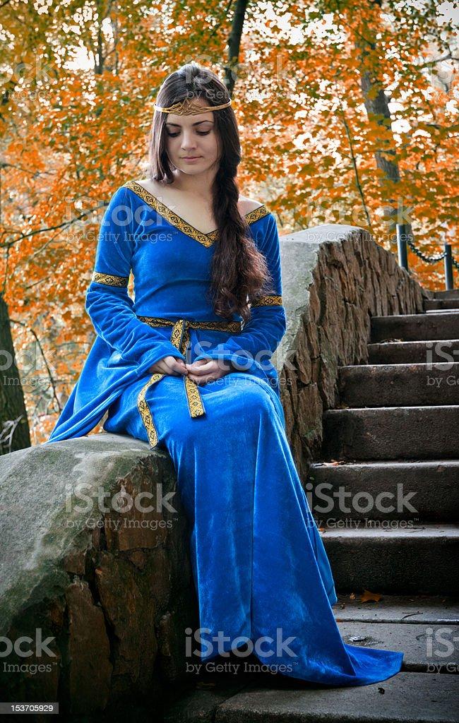elf princess on stone staircase royalty-free stock photo