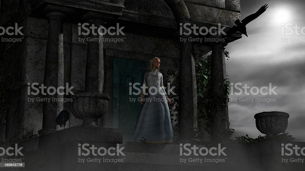 Elf woman in old spooky mausoleum in moonlight stock photo