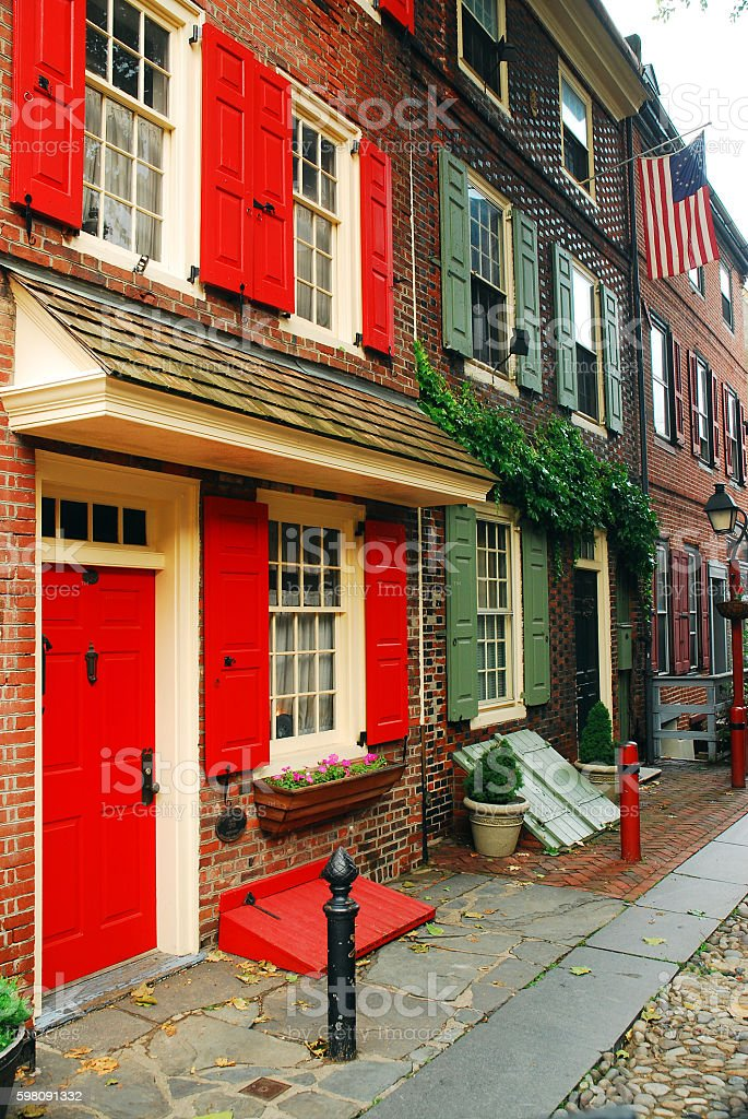 Elfreths Alley, Philadelphia, Considered the Oldest Occupied Street in USA stock photo