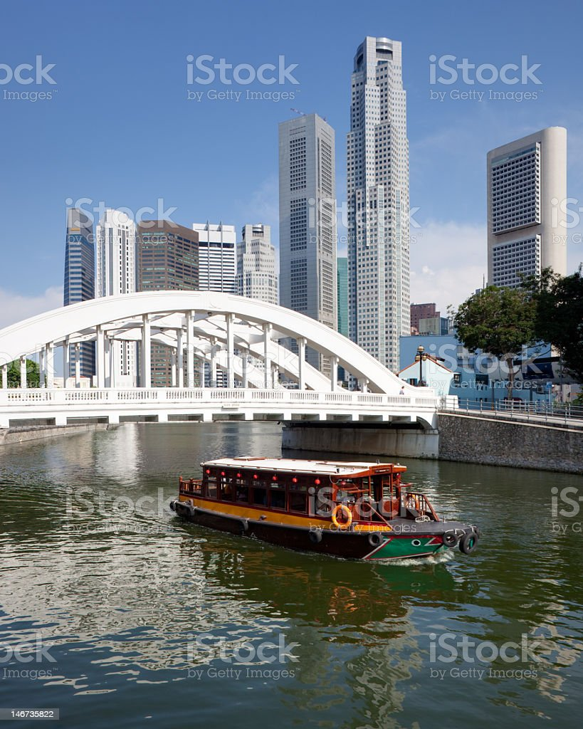 Elgin Bridge and River by Singapore financial district stock photo